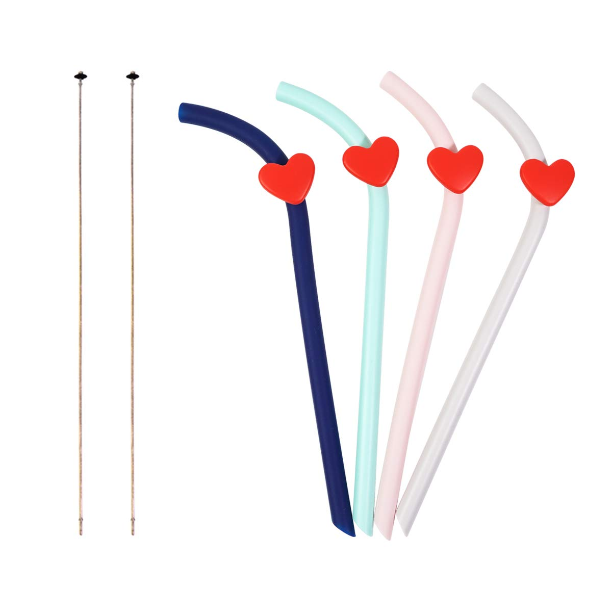 P&M Home Silicone Reusable Straws Collapsible Drinking Straws-Folding, Flexible,Portable Bendy Straws for Travel Home and Office,with Cleaning Brushes BPA Free, Eco Friendly (4 Pack with 1 Brushes)