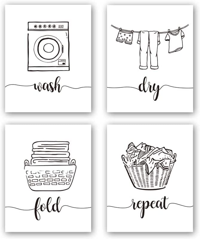 "HPNIUB Funny Laundry Quotes Art Prints, Set of 4 (8""X10""), Laundry Saying Wash Dry Fold Repeat Canvas Poster,Modern Minimalist Doodle Painting for Laundry Room Bathroom Decor, No Frame"
