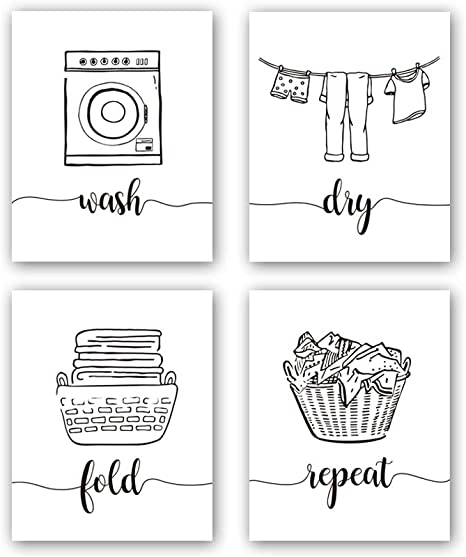 Amazon Com Hpniub Funny Laundry Quotes Art Prints Set Of 4 8 X10 Laundry Saying Wash Dry Fold Repeat Canvas Poster Modern Minimalist Doodle Painting For Laundry Room Bathroom Decor No Frame Home Kitchen