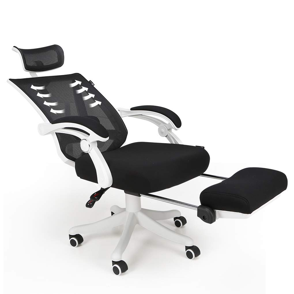 Hbada Reclining Office Desk Chair | Adjustable High Back Ergonomic Computer Mesh Recliner | White Home Office Chairs with Footrest and Lumbar Support by Hbada