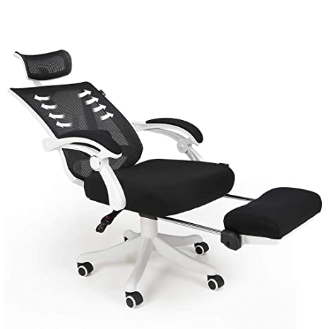 Incredible Hbada Reclining Office Desk Chair Adjustable High Back Ergonomic Computer Mesh Recliner White Home Office Chairs With Footrest And Lumbar Support Ncnpc Chair Design For Home Ncnpcorg