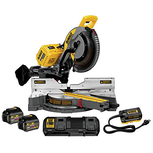 DEWALT DHS790AT2 FLEXVOLT 120V MAX Corded / Cordless 12″ Double Bevel Compound Sliding Miter Saw (includes 2 Batteries & Fast Charger)