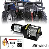 VIOJI 2000lb / 907kg Capacity 12V 0.7kw Electric Recovery Waterproof Winch With Wire Remote For ATV Boat Trailer Snow Mobile Plow Off Road