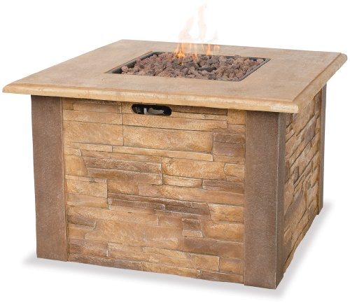 Uniflame Outdoor Firebowl (Uniflame LP Gas Outdoor Firebowl with Faux Stone Mantel)