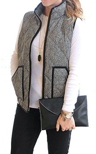 Merokeety Women's Fall Quilted Herringbone Pockets Stripe Puffer Vest with Zipper, Medium (Puffy Vest)