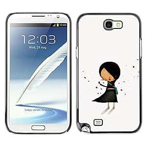 Be Good Phone Accessory // Dura Cáscara cubierta Protectora Caso Carcasa Funda de Protección para Samsung Note 2 N7100 // Pastel Minimalist Black Hand Drawn