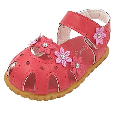 Elevin(TM)2017Summer Children Girls Fashion Flat Flower Soft Bottom Sandal Walk Shoes (3T, Watermelon - Fashion 5dollar