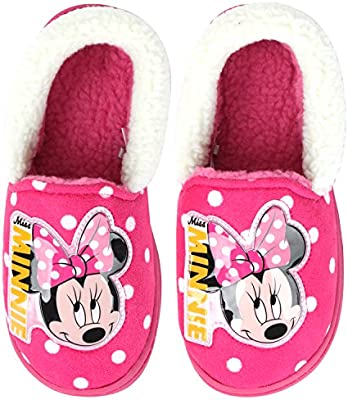 Joah Store Disney Mickey Mouse Minnie Mouse Slippers for Boys Girls Warm Fur Comfort Indoor Shoes