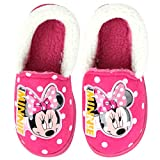 Joah Store Slippers for Girls Disney Minnie Mouse Pink Warm Fur Comfort Indoor Shoes (8 M US Toddler, Minnie Mouse_2)
