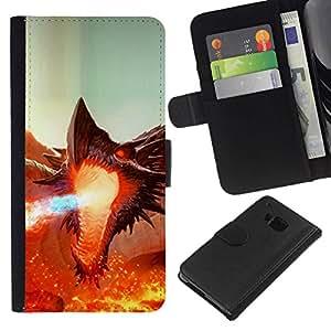 // PHONE CASE GIFT // Moda Estuche Funda de Cuero Billetera Tarjeta de crédito dinero bolsa Cubierta de proteccion Caso HTC One M7 / Fierce Smaug Fire Dragon /