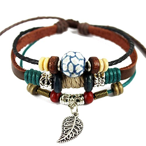 Vicheer Multilayer Cord Beads Leaf Charm Leather Wristband Cuffs Bracelet