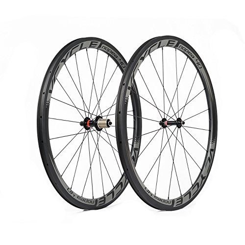 VCYCLE Nopea 40mm Carbon Fiber Racing Road Bike Wheelset 700C in Bicycle Wheel 25mm Width Clincher Ultra Light Shimano or Sram 8/9/10/11 - Wheel Clincher Ultra