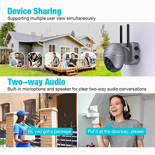 Battery Outdoor Camera, Conico 1080P Pan/Tilt Wireless WiFi Security Camera with 15000mAh Rechargeable Battery,PIR Motion Detection,Surveillance Cameras with Two-Way Audio,Night Vision