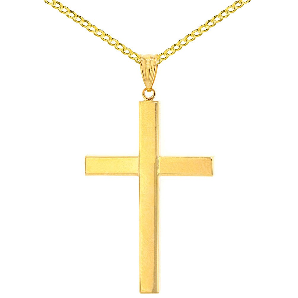 14k Yellow Gold Simple Religious Cross Pendant with Cuban Chain Necklace, 24''