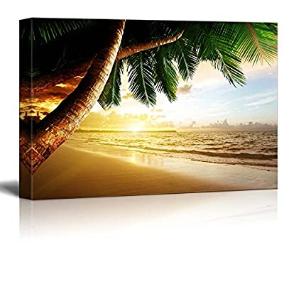 Canvas Prints Wall Art - Beautiful Scenery Sunrise on Caribbean Beach with Palm Trees | Modern Wall Decor/Home Art Stretched Gallery Canvas Wraps Giclee Print & Ready to Hang - 24