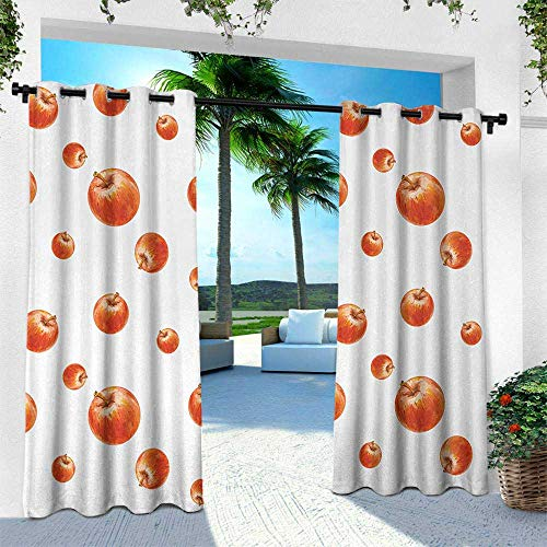 (Hengshu Apple, Outdoor Curtain for Patio,Outdoor Patio Curtains,Watercolor Style Cameo Apples Abstract Kitchen Elements Brush Stroke Effects, W96 x L96 Inch, Vermilion White)