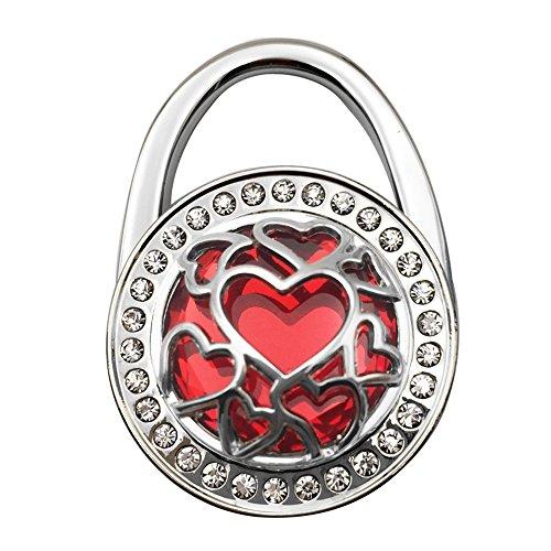 JewelBeauty Handbag Hangers Purse Hook Holder Held Storage Lightweight Metal Heart Cut-Out Crystal Bling Diamond Instant Folding Table Bag Hanger for Women Girls (red)