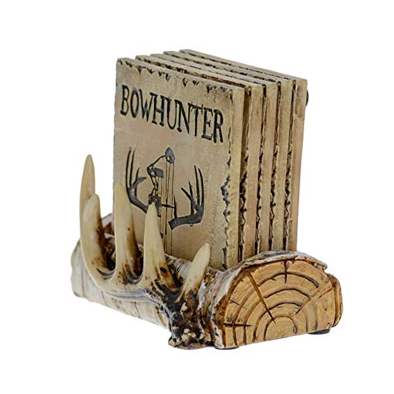 Pine Ridge Home Antler Wood Log Coaster Set with Holder - Bow Hunter Country Absorbent Coaster Decor - Cabin Lodge Home… - PROTECT YOUR FURNITURE: No more drips, puddles, damage, or water stains! The cork on the back of antler drink coasters protects your table from scratches and damage. The cabin coasters also sticks tightly to the countertop and provides good gripping power to prevent the country coasters from slipping off the table. These novelty coasters do not stick to bottom of cups or glasses when lifted. DEER DECORATIONS FOR HOME: With our functional coasters and holder set, you can feel prepared using the best coasters to keep your furniture looking nice for years to come. Use all 5 square drinking cup mats deer coaster set throughout your house, make it easy to leave drinkware on your wooden furniture without harming them. And the real bonus is they look classy and stylish in any home! NON-SKID & NON-SLIP BOTTOM DRINK COASTERS: Cabin decor coasters and coaster holder western has four non-skid padded feet on the bottom to protect table surfaces. Wildlife coaster sets with holder won't slide off your table or scratch your furniture. - living-room-decor, living-room, home-decor - 51VcvyykpqL. SS570  -