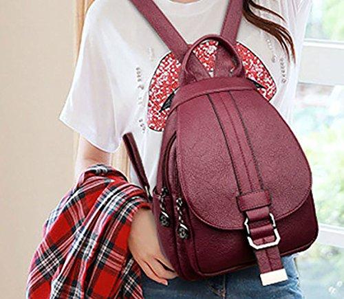 mochila Burdeos de DEERWORD Shoppers Bolsas Bolsos Cuero y bandolera escolares Burdeos bolsos hombro PU Bolsos de Mujer qvCaE