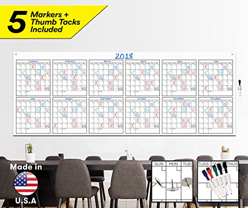 Large Dry Erase Wall Calendar - 36' x 96' - Blank 2018-2019 Reusable Annual Planner - Academic Fiscal Year Office Project 12 Month Poster - Laminated Giant Jumbo Oversized Erasable Undated Calander