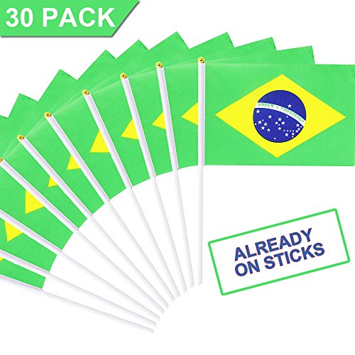 Lokinly Brazil Stick Flag 30 Pack, 5.5x8 Small Mini Hand Held Brazilian Flags on Sticks with 11.8