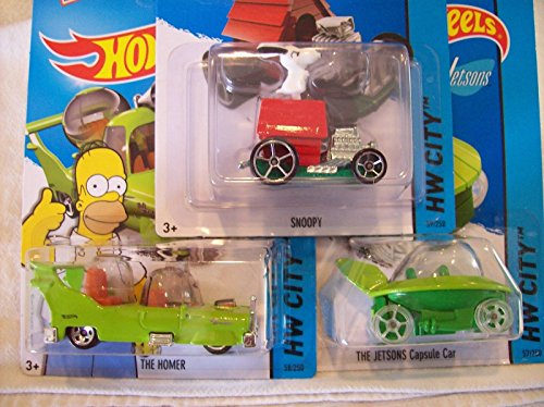 2015 Hot Wheels Hw City - Snoopy, The Homer, The JETSONS Capsule Car - Lot of 3!!