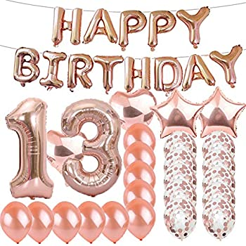 Sweet 13th Birthday Decorations Party SuppliesRose Gold Number 13 Balloons Foil Mylar Latex Balloon DecorationGreat Gifts For