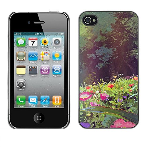Soft Silicone Rubber Case Hard Cover Protective Accessory Compatible with Apple iPhone? 4 & 4S - flowers forest sun summer