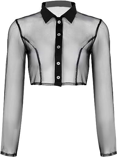 YiZYiF Camiseta Tul Transparente Sexy para Mujer Camisa de Malla Blusa Tul Camiseta Perspectiva Punk Short Tops Fishnet Chicas Clubwear Negro Medium: Amazon.es: Ropa y accesorios
