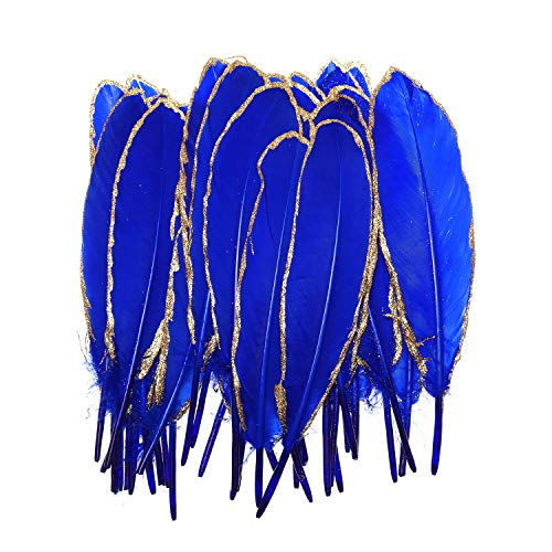 50pcs Dipped Gold & Silver Goose Feathers 6-8 inch Natural Feather Christmas Decoration Craft Art Feather Accessories for Halloween, DIY, Party, Wedding, Dream Catcher (Royal Blue Golden Edge) (Wedding Blue And Gold Christmas)