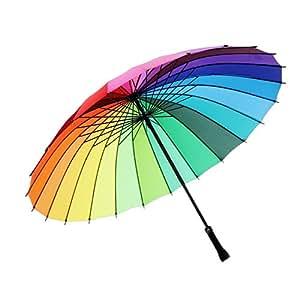 meizhouer 24k Color Rainbow Umbrella Fashion Long Handle Straight Anti-UV Sun/Rain Stick Umbrella Manual Big Parasol