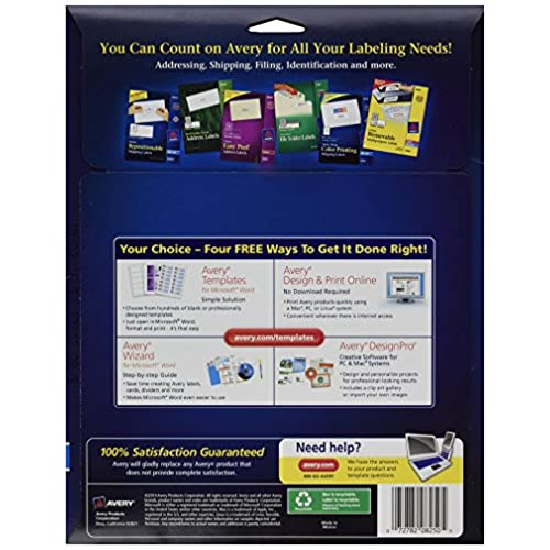 avery address labels for ink jet printers 8250 20 sheets high