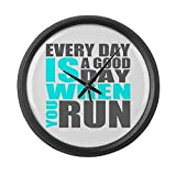 CafePress - Every Day Is A Good Day When You Run Large Wall Cl - Large 17'' Round Wall Clock, Unique Decorative Clock