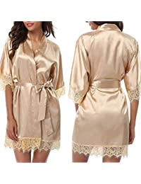 f05d2825eb Mesh Spandex Wedding Bride Bridesmaid Robe Solid Bathrobe Short Kimono Robe  Night Robe Bath Robe Fashion · SenS Pajamas