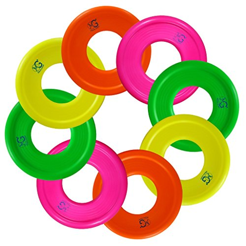 Macro Giant 9 Inch Colorful Soft Foam Frisbee Ring, Flying Disc, Set of 8, Safe to catch, NEON Color, Ring Toss Game, Outdoor Camp Toys, Beach Pool, School Playground, Birthday (Flying Ring Disc)