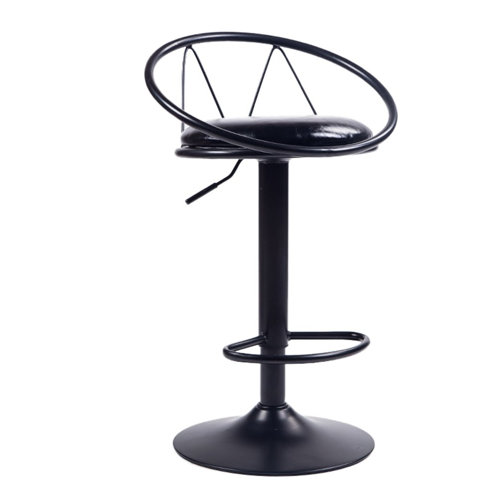 2 DDSS Bar stool Iron Bar Stool, Modern Lift Bar Chair, Leather Mat and Wrought Iron Scaffolding, Suitable for Counter, Kitchen Breakfast Bar, Sitting Height 62-82cm  -  (color    2)