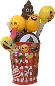 emoji Easter Toy Bundle Gift Set in an Cup-Light Up Pens, Sound Keychain, Sling Ball, Rings, Easter Eggs, Fun Stamps, Frog Toys, Wristbands Bracelets & LED NightLight