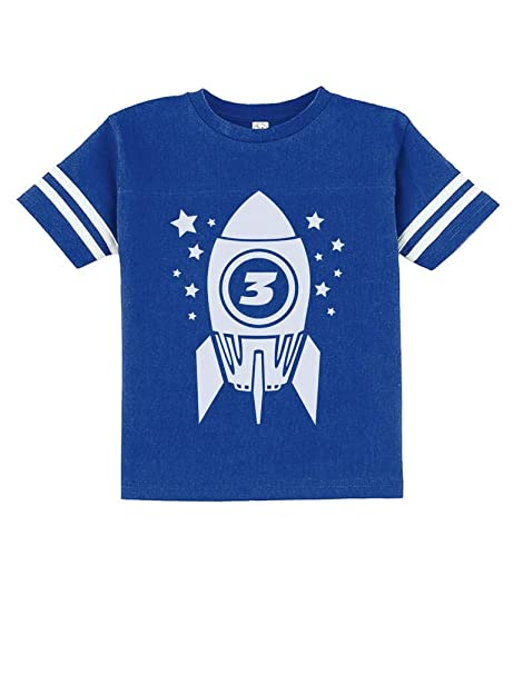 f96e76698 Gift for Three Year Old 3rd Birthday Space Rocket Toddler Jersey T-Shirt 2T  Blue