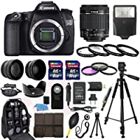 Canon EOS 70D SLR Camera with EF-S 18-55mm f/3.5-5.6 IS II SLR Lens - Mark II + 58mm 2X Professional Telephoto Lens + 58mm High Definition 0.45x Wide Angle Lens + Transcend 16GB Class 10 Memory Card +Transcend 8GB Class 10 Memory Card with Much More in this 30 Piece Accessory Bundle!