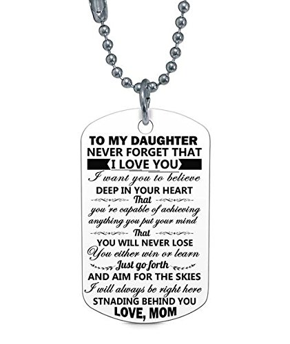 Amazon.com: Stashix To My Daughter Love Mom Quote Dog Tag ...