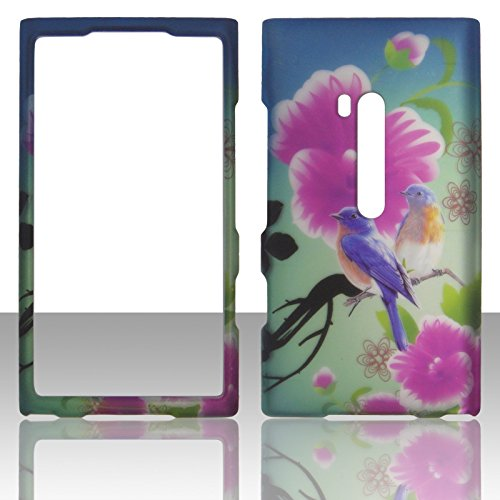 For Nokia Lumia 900 AT&T Purple Twin Bird Case Cover Hard Phone Case Snap-on Cover Rubberized Touch Protector Faceplates (Purple Twin Bird) ()