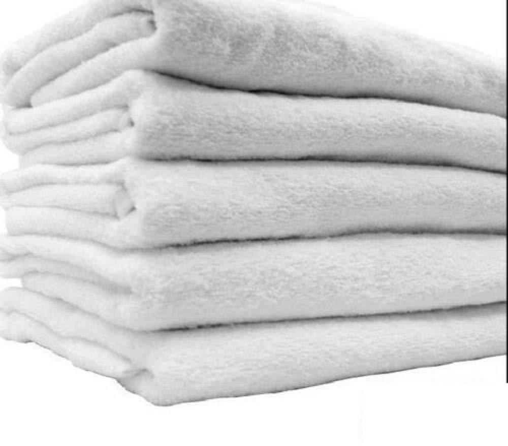 12 New White Hair Bath Salon Gym Workout Towels 22x44 100% Cotton Wholesale