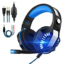 Gaming Headsets PS4, 3.5mm Stereo Wired Over-Head Gaming Headphone with Noise Canceling Mic & Volume Control, Over Ear Gaming Headphone for PC/MAC/PS4/Xbox 1/Nintendo Switch/Mobile (Upgrade Blue)