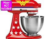 Deluxe Wonder Woman sticker set for KitchenAid stand mixers (Yellow logos w/white stars and blue stripes) NO MIXER INCLUDED - Decals ONLY