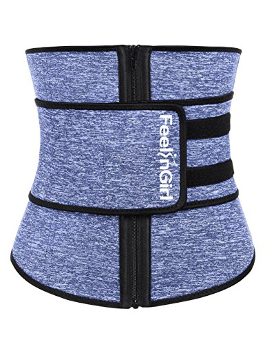FeelinGirl Neoprene Sauna Sweat Waist Trainer for Women Weight Loss with Adjustable Waist Shaper Belt - Belt Trimmer Workout Waist