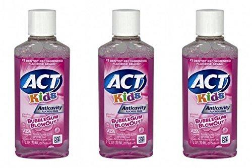 ACT Kids Anti-Cavity Fluoride Rinse, Bubblegum Blowout Travel Size 1 Oz (Pack Of 3) ()