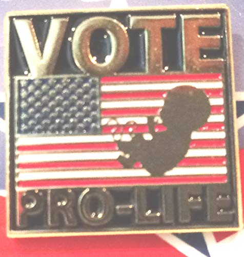 Vote Pro-Life Pin, Pro Life Lapel Pin with Flag and Unborn Child, Vote Pro-Life Card with Lapel Pin 7/8
