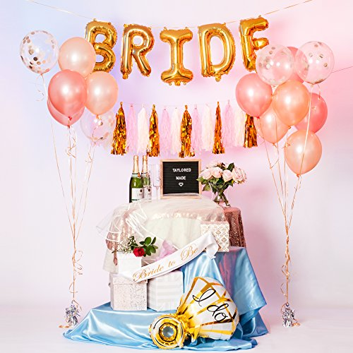 Bachelorette Party Supplies | Photo Booth Props | Bridal Shower | Diamond Ring & Letter Balloons for Bride | Champagne Latex Balloons, Rose Gold, Confetti Balloons | Fringe Tassel Banner - Fringe Confetti