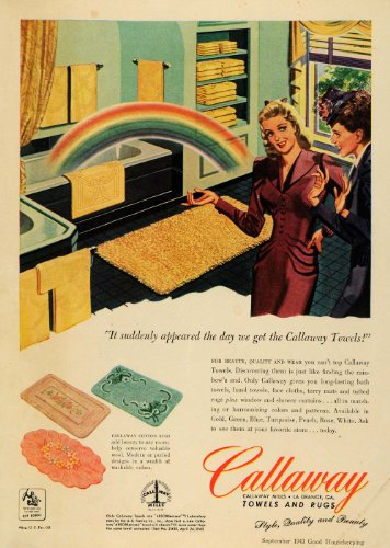 1943 Ad Callaway Towels Cotton Rugs Bathroom Green Rose - Original Print Ad by PeriodPaper LLC-Collectible...