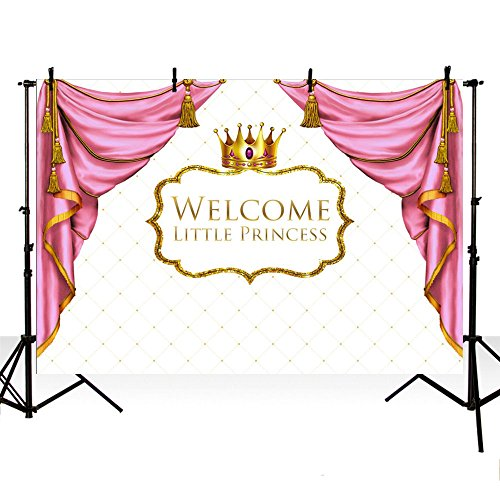 MEHOFOTO Baby Shower Photo Studio Booth Background Pink Curtain Crown Little Princess Girl Backdrops Banner for Photography 7x5ft ()